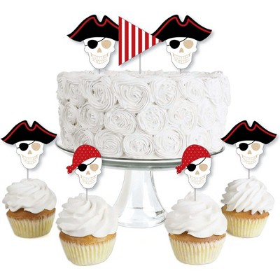 Big Dot of Happiness Beware of Pirates - Dessert Cupcake Toppers - Pirate Birthday Party Clear Treat Picks - Set of 24