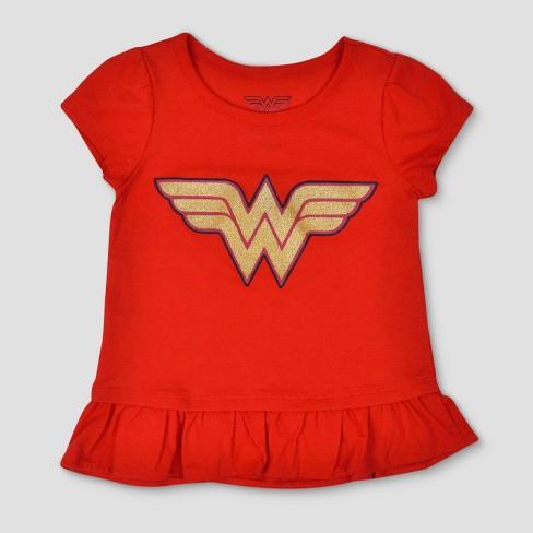 27fd7e03 Toddler Girls' 2pk DC Comics Wonder Woman Short Sleeve T-Shirt - Red ...
