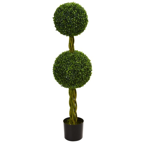 4ft Boxwood Double Ball Artificial Topiary Tree with Woven Trunk - Nearly Natural - image 1 of 1