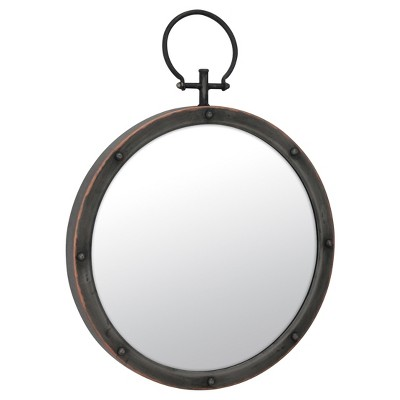 "15.7"" Round Metal Wall Mirror with Rivet Trim Dark Gray - Stonebriar Collection"