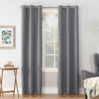 "63""x40"" Cooper Textured Thermal Insulated Grommet Top Room Darkening Curtain Panel Gray - Sun Zero"
