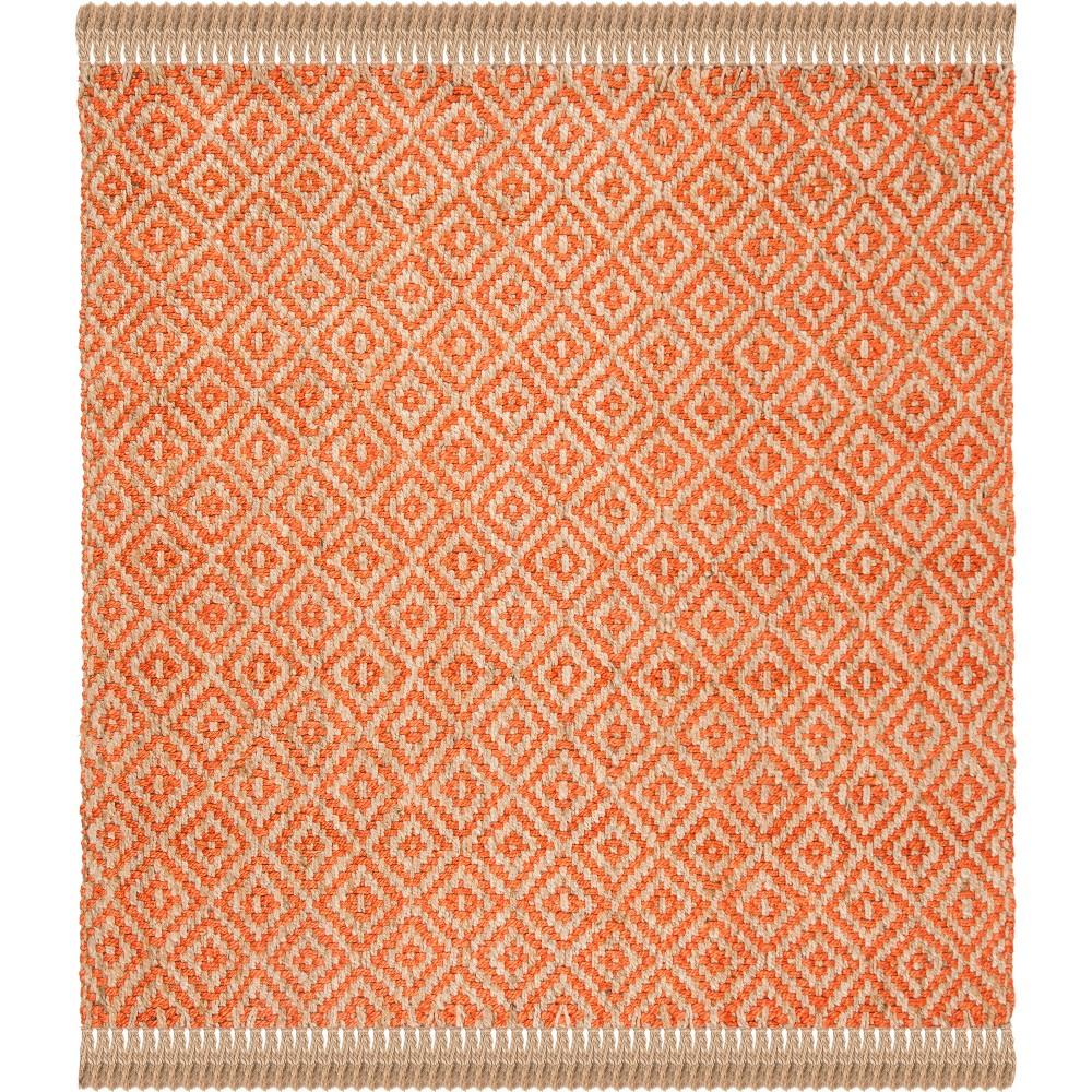 6'X6' Geometric Woven Square Area Rug Orange/Natural - Safavieh