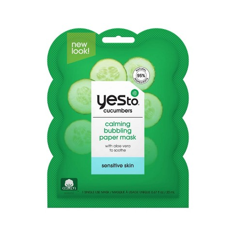 Yes To Cucumbers Calming Bubbling Paper Single Use Face Mask - 0.67 fl oz - image 1 of 4