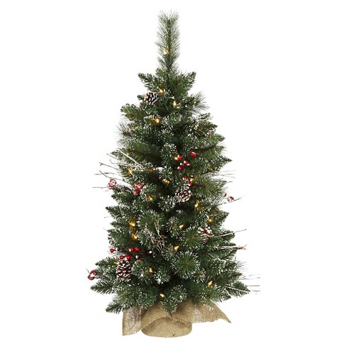 3ft Prelit Snow- Tipped Pine and Berry Artificial Christmas Tree in Burlap  Base - 3ft Prelit Snow- Tipped Pine And Berry Artificial Christmas Tree In