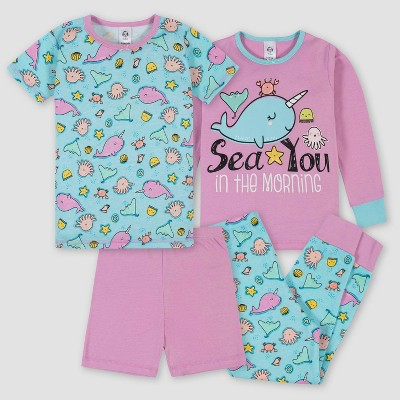 Gerber Toddler Girls' 4pc Pajama Set - Teal/Pink