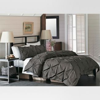 Gray Pinched Pleat Duvet Cover Set (Full/Queen) 3 Piece - Threshold™
