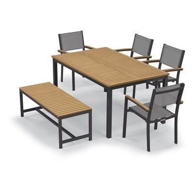 """Travira Patio Dining Set with 63"""" Rectangular Table, Bench & Arm Chairs  - Oxford Garden"""