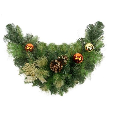 """Northlight 24"""" Pre-Decorated Green Traditional Pine Artificial Christmas Swag - Unlit"""