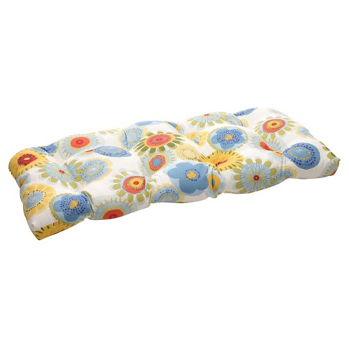 Outdoor Wicker Bench/Loveseat/Swing Cushion - Blue/White/Yellow Floral