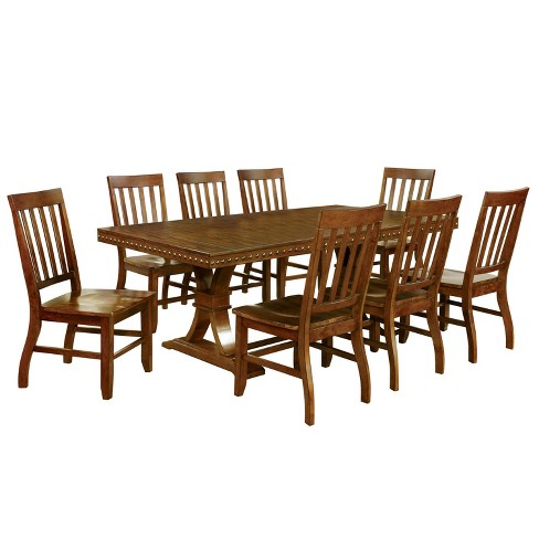 Sun Pine 9pc Nail Head Trimmed Double Pedestal Dining Table Set Wood Dark Oak Target