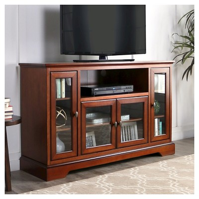 52  Wood Highboy TV Media Stand Storage Console - Brown - Saracina Home