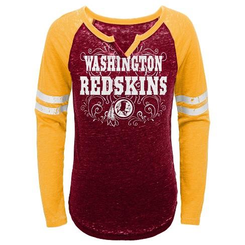 Washington Redskins Girls  Fashion Team Alt Color Burnout Long Sleeve T- Shirt L   Target fbb85600e