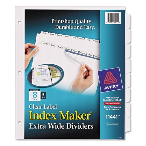 Avery® 11-1/4 x 9-1/4 Index Maker Extra Wide Label Dividers with 8 Tab - Clear (5 Sets Per Pack) - image 1 of 2