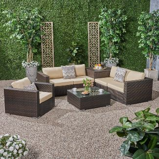 Santa Rosa 7pc All-Weather Wicker Patio Sectional Sofa Set Brown - Christopher Knight Home