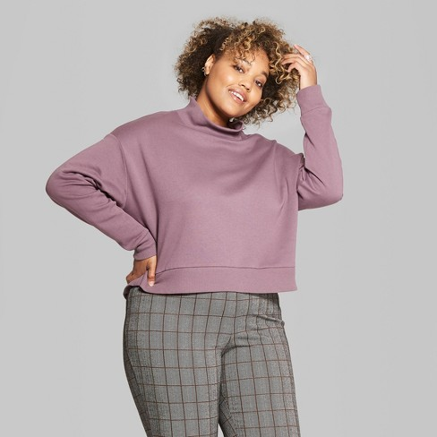 e74647ef Women's Plus Size Cropped Mock Neck Fleece Pullover : Target