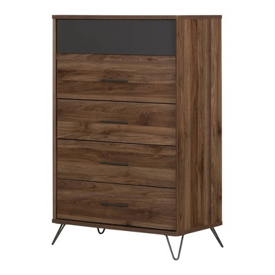 Olwyn 5 Drawer Chest Natural Walnut/Charcoal - South Shore