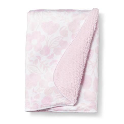 Plush Velboa Baby Blanket Watercolor Floral - Cloud Island™ Pink Lemonade - image 1 of 2