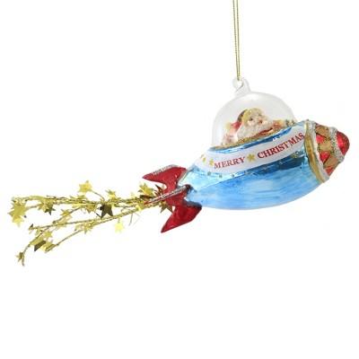 "Holiday Ornament 3.75"" Rocket Santa Ornament Claus Space Christmas  -  Tree Ornaments"
