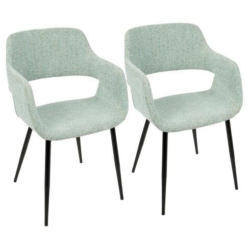Margarite Mid Century Modern Dining Accent Chair Light Green Set