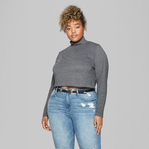 61355679b1e4d Women s Plus Size Long Sleeve Mock Neck Boxy T-Shirt - Wild Fable™   Target