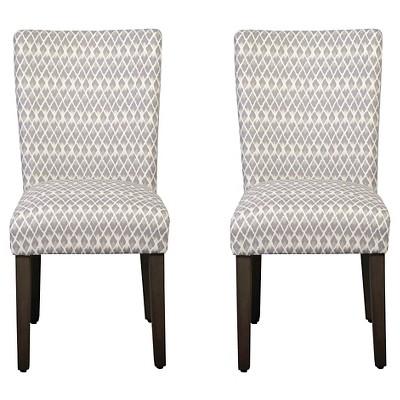 Set of 2 Parson Dining Chair Wood/Gray Diamond - HomePop