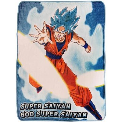 Dragon Ball Z Super Goku Super Saiyan Blue Fleece Throw Blanket