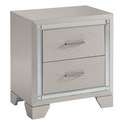 Lonnix Two Drawer Nightstand Silver - Signature Design by Ashley
