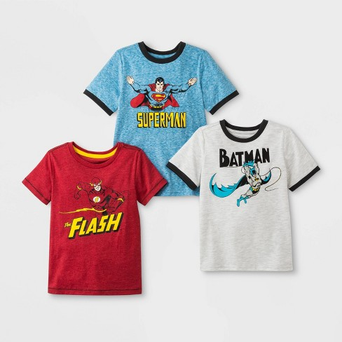 Toddler Boys' DC Comics DC Super Heroes 3pk Short Sleeve T-Shirts - Blue/Red/Gray - image 1 of 1