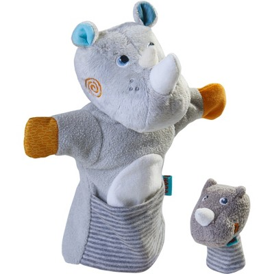 HABA Rhino With Baby Calf - Hand Puppet and Finger Puppet 2 Pc Set