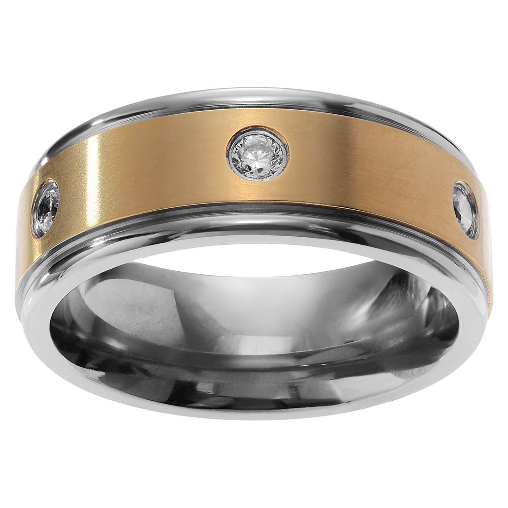 1 / 5 CT. T.W. Round-cut CZ Accent Men's Wedding Inlaid Band in Ion-plated Titanium - Gold, 9 (8mm)