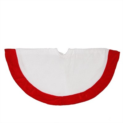"Northlight 18"" White and Red Velveteen Mini Christmas Round Tree Skirt"
