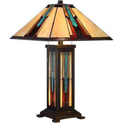 Robert Louis Tiffany Mission Table Lamp with Nightlight Bronze Stained Glass for Living Room Family Bedroom Bedside Nightstand