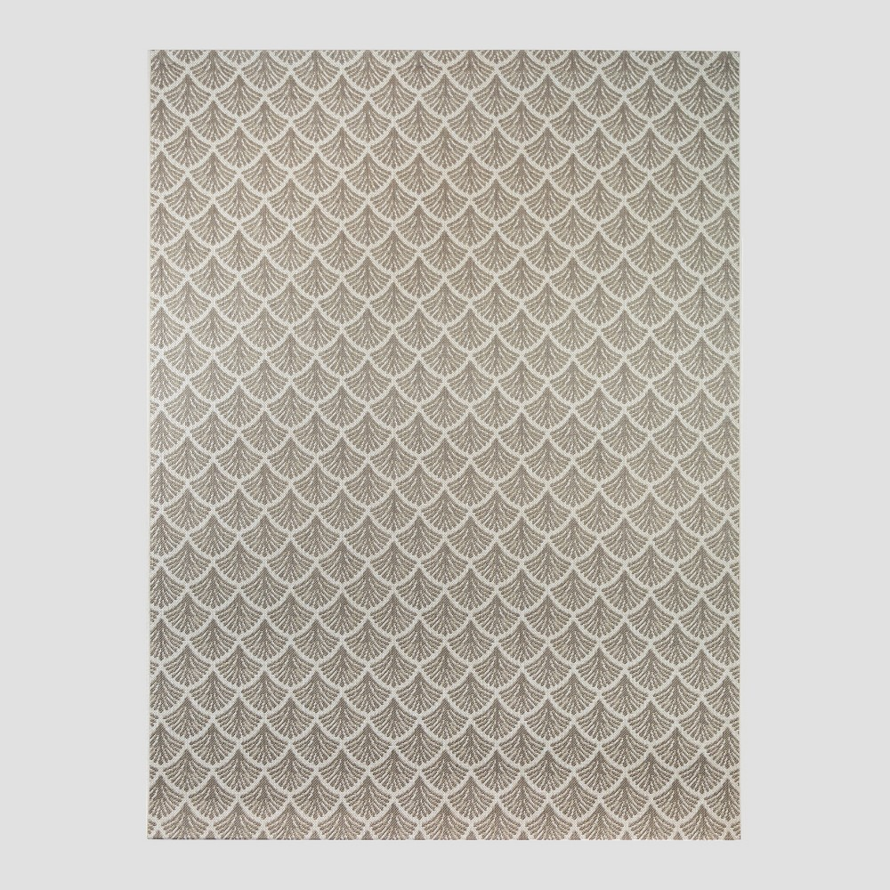 5' x 7' Fan Outdoor Rug Taupe (Brown) - Threshold