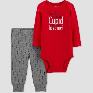 Baby Boys 2pc Who Needs Cupid Bodysuit Set - Just One You® made by carters Red Newborn