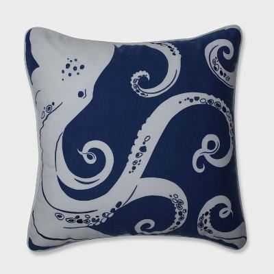 Ollie Octopus Throw Pillow Blue - Pillow Perfect