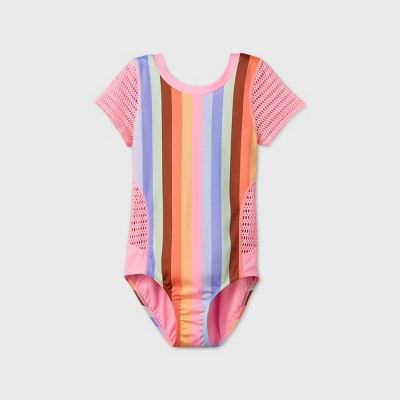 Girls' Short Sleeve Vertical Striped One Piece Swimsuit- art class™ Pink
