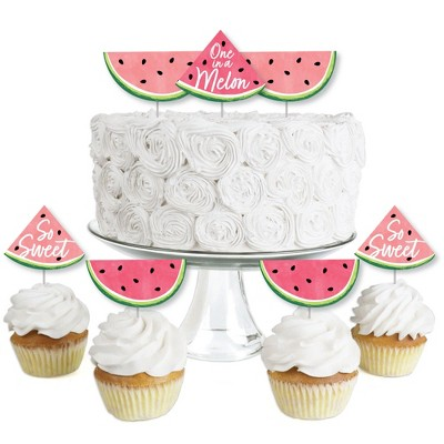 Big Dot of Happiness Sweet Watermelon - Dessert Cupcake Toppers - Fruit Party Clear Treat Picks - Set of 24