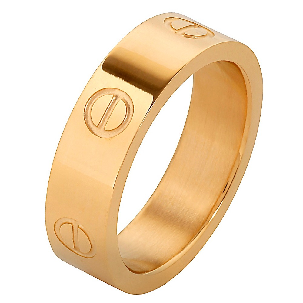 Men's West Coast Jewelry Goldplated Stainless Steel Polished Screw Design Band Ring (12), Gold