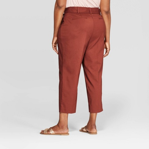 b2be19b04f9 Women s Plus Size Tie Waist Ankle Pants With Comfort Waistband - Ava   Viv™  Brown   Target