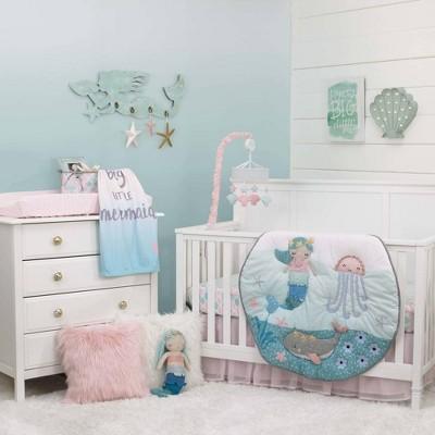 NoJo Sugar Reef Mermaid 4 Piece Nursery Crib Bedding Set