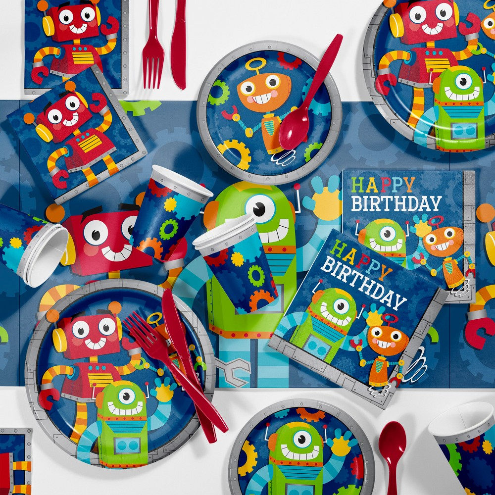 81pk Robot Party Supplies Kit Disposable Dinnerware Set, Multi-Colored
