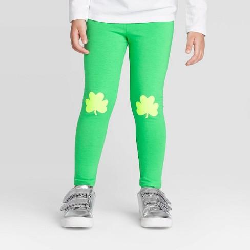 Toddler Girls' Shamrock Knee Leggings - Cat & Jack™ Green 18M - image 1 of 3