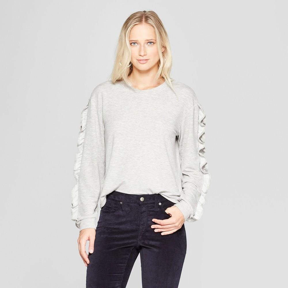 Women's Long Sleeve Ruffle Sleeve Knit Top - Xhilaration Heather Gray M