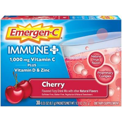 Emergen-C Immune+ Drink Dietary Supplement Powder Drink Mix with Vitamin C - Cherry - 30ct