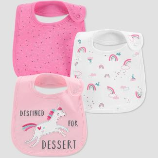 Baby Girls' 3pk Unicorn Bib - Just One You® made by carter's Pink