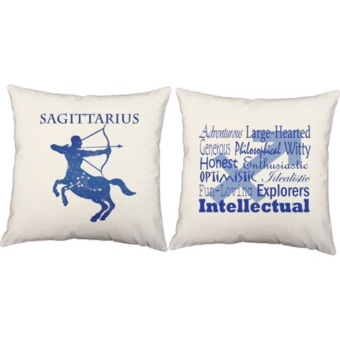 Set Of 2 Sagittarius Throw Pillows 18x18 Inch Square White Indoor Outdoor Zodiac Sign Cushions Roomcraft Target