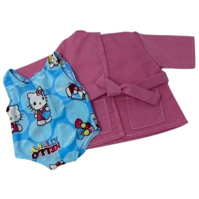 Doll Clothes Superstore One Piece Kitty Bathing Suit With Cover Up Fits 18 Inch Girl  Dolls