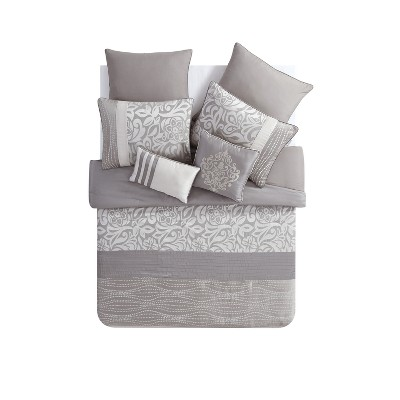8pc King Arcadia Comforter Set Taupe - VCNY Home