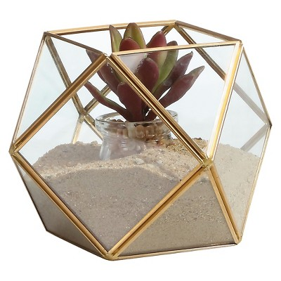 Danya B™ Polyhedral Brass and Glass Terrarium