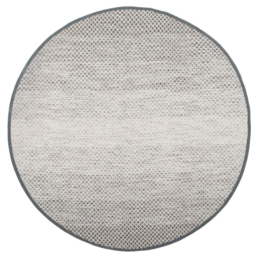 Light Gray/Ivory Geometric Flatweave Woven Round Area Rug 6' - Safavieh